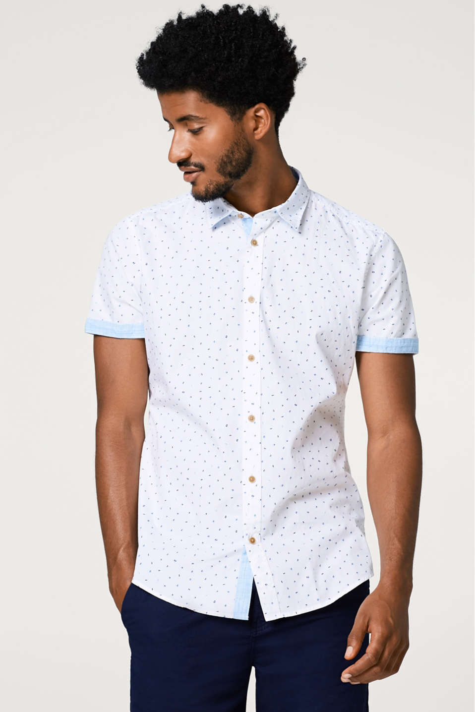 Esprit - Short sleeve shirt with a geometric print, in cotton