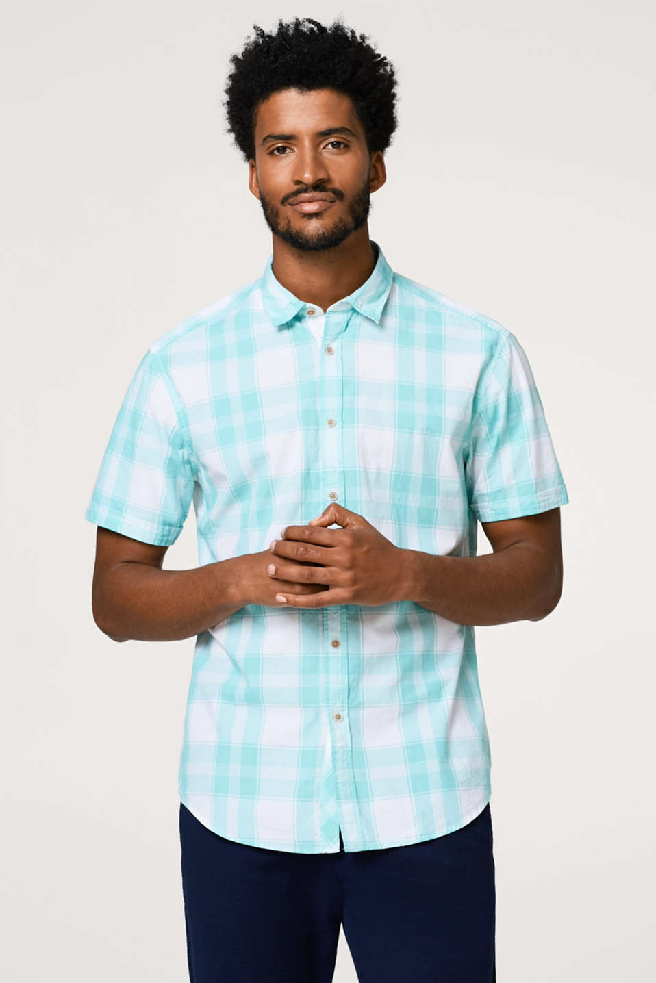 Esprit - Short sleeve shirt with a check pattern, in cotton