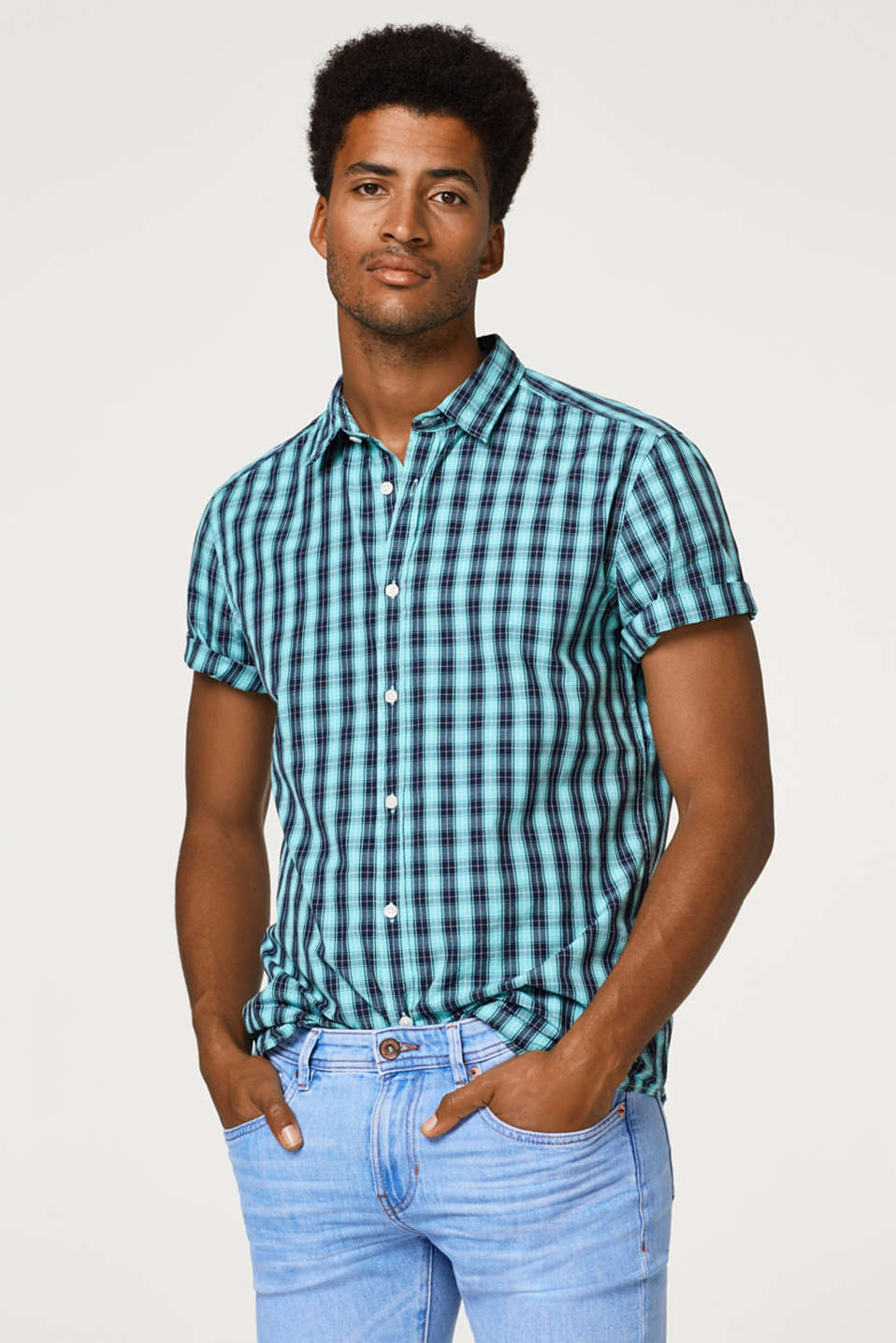 Esprit - Short sleeve shirt with a check pattern, 100% cotton