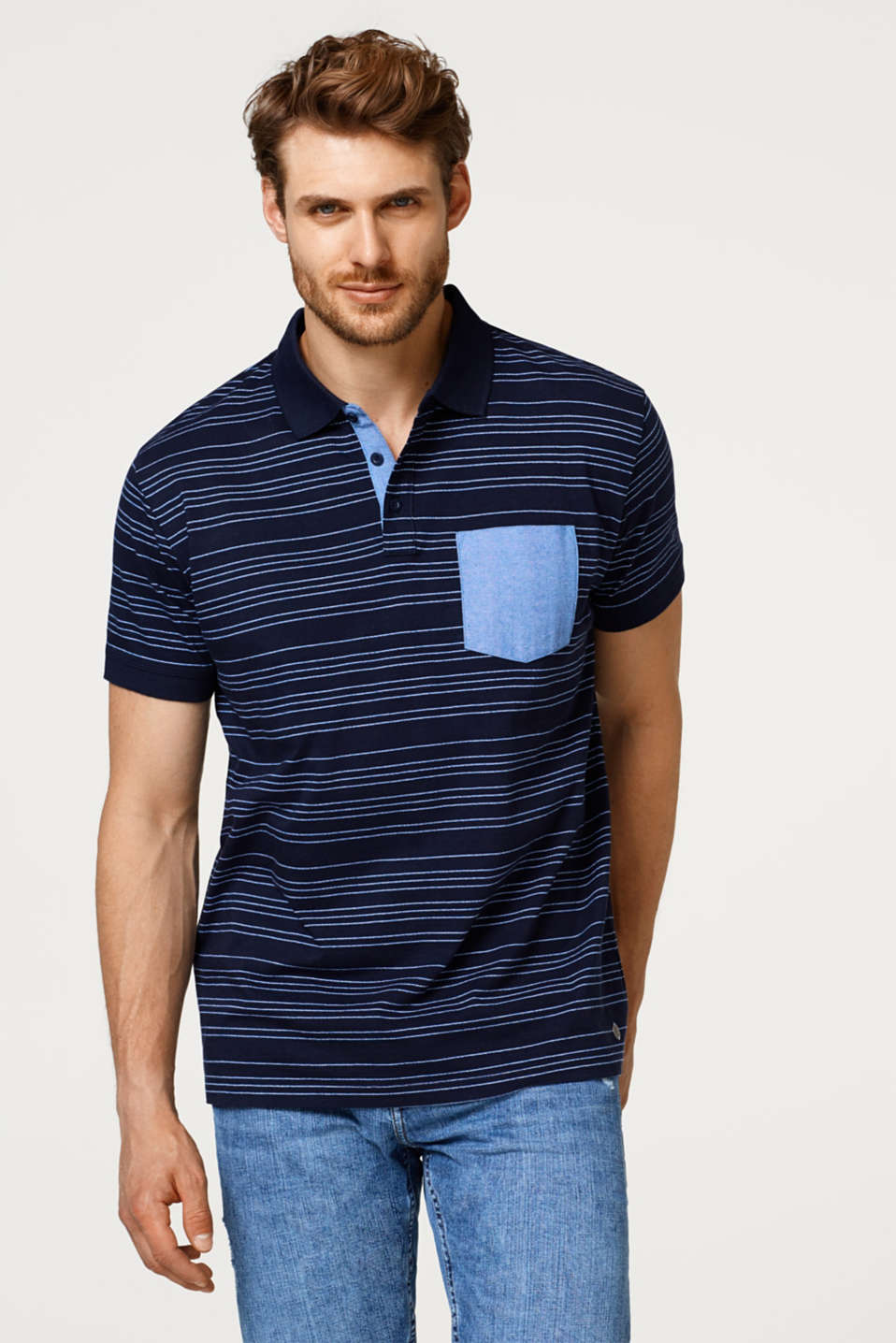 Esprit - Jersey polo shirt with stripes, 100% cotton