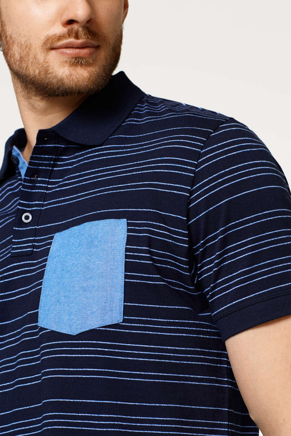 Jersey polo shirt with stripes, 100% cotton