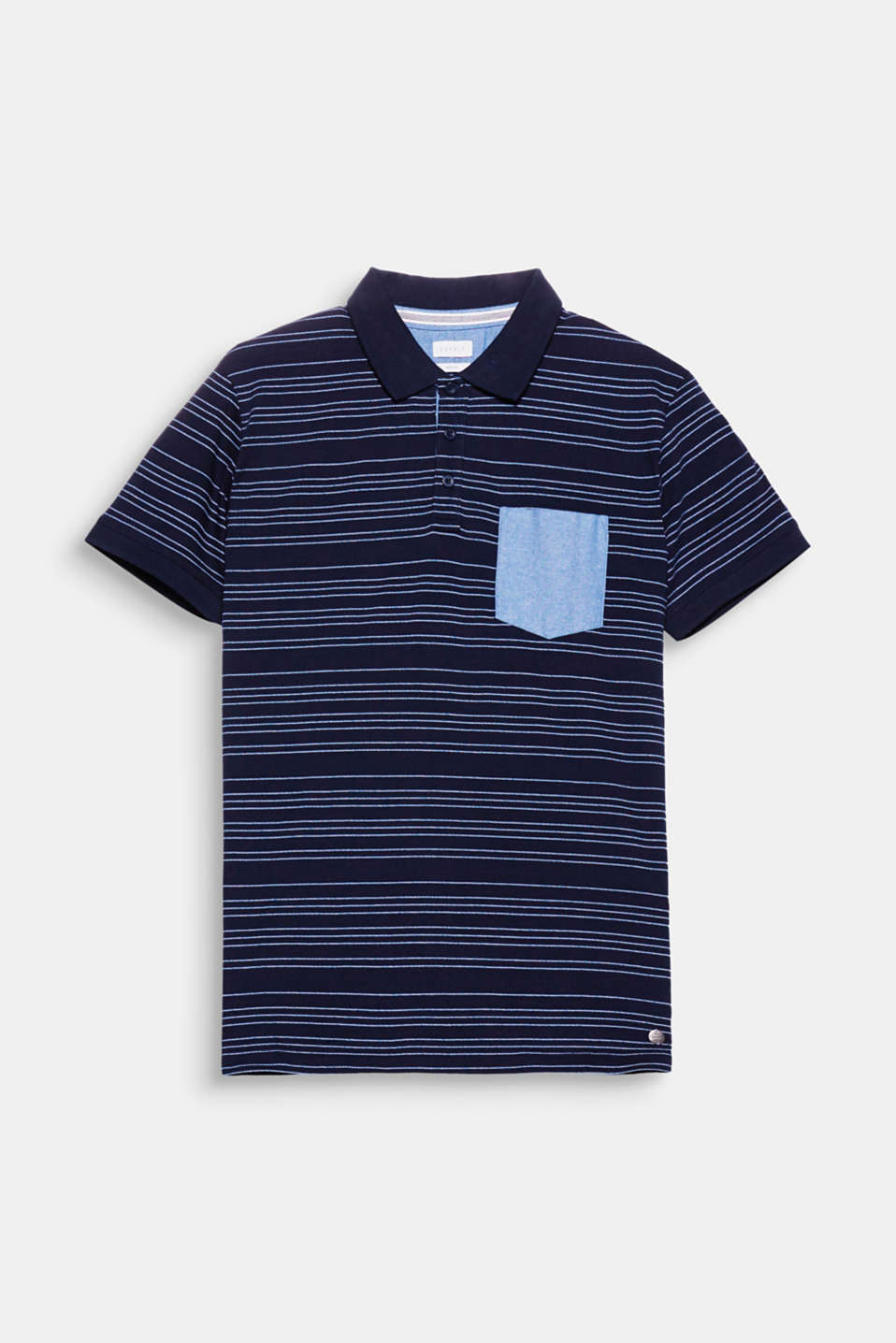 The stripes and the breast pocket are the two details which define this pure cotton polo shirt.