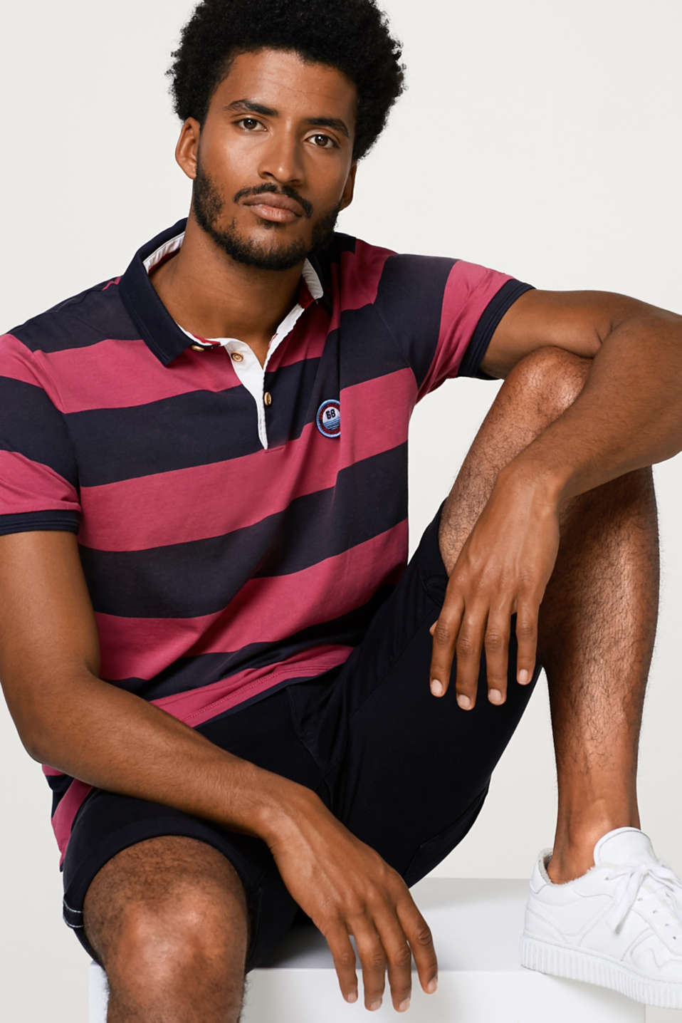 Esprit - Striped jersey polo shirt in cotton