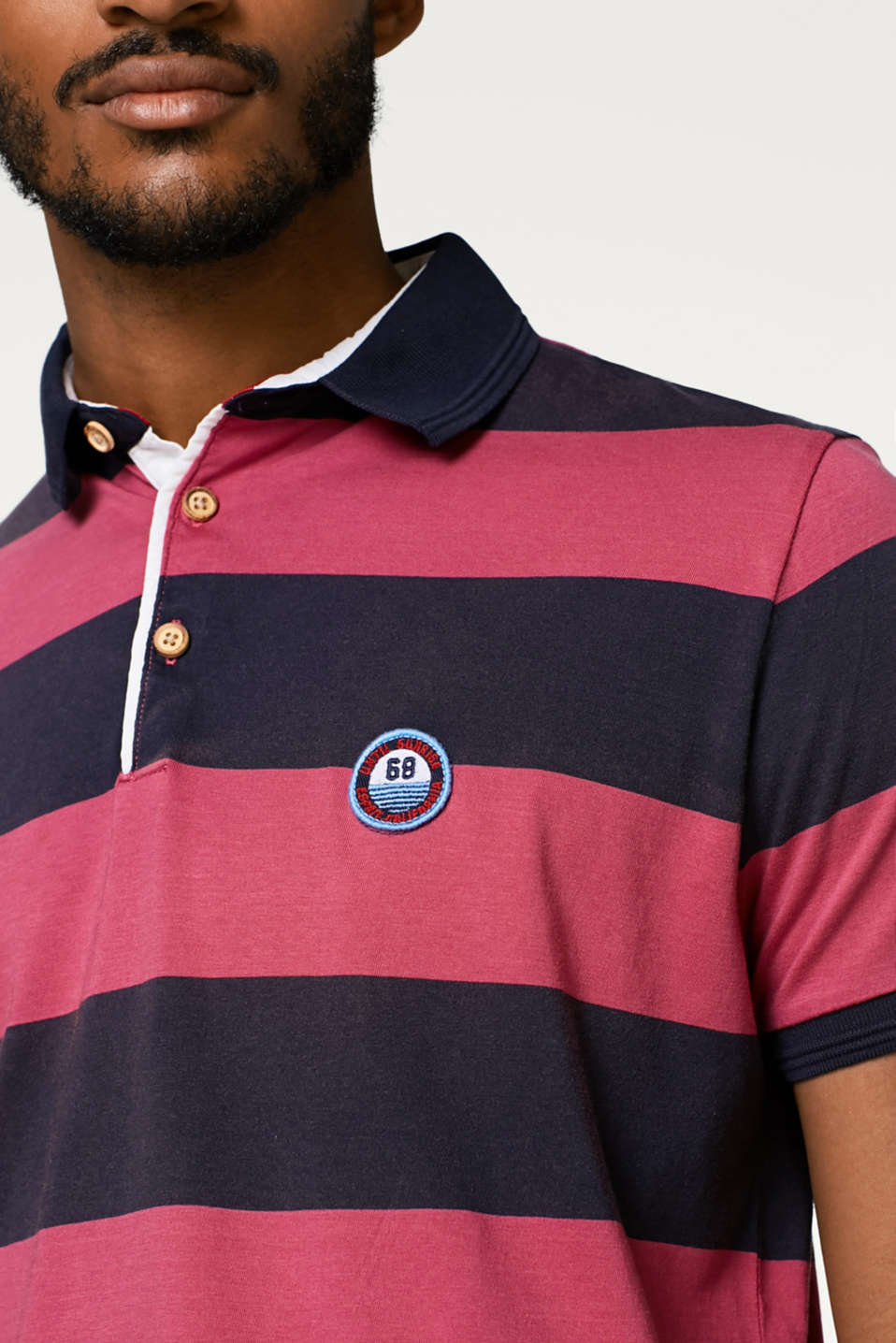 Striped jersey polo shirt in cotton