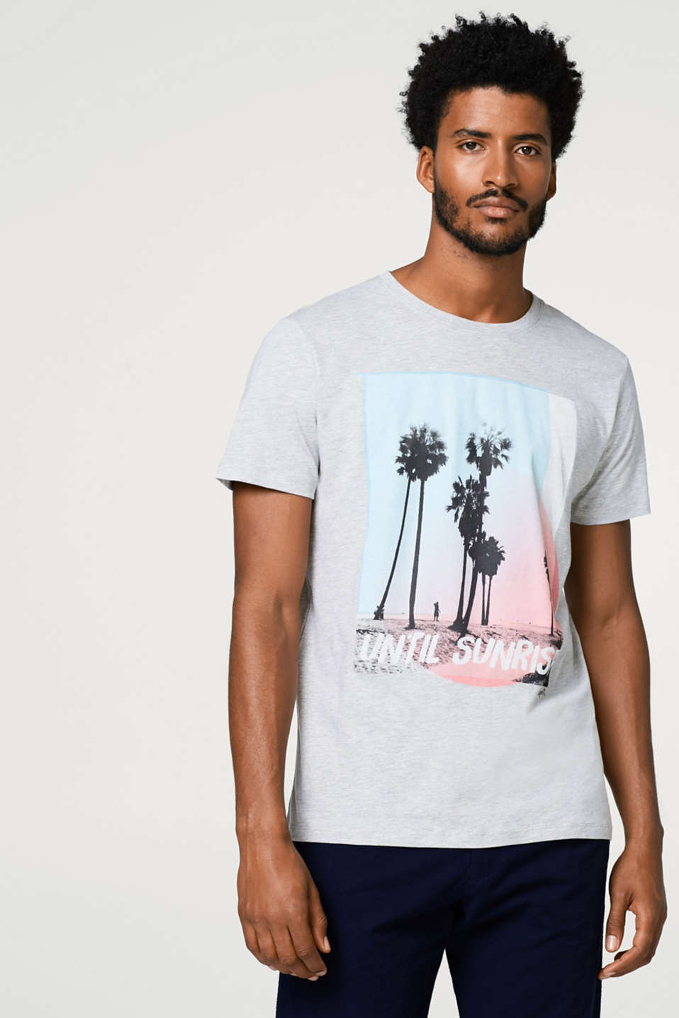 Esprit - Melange jersey T-shirt with a photo print
