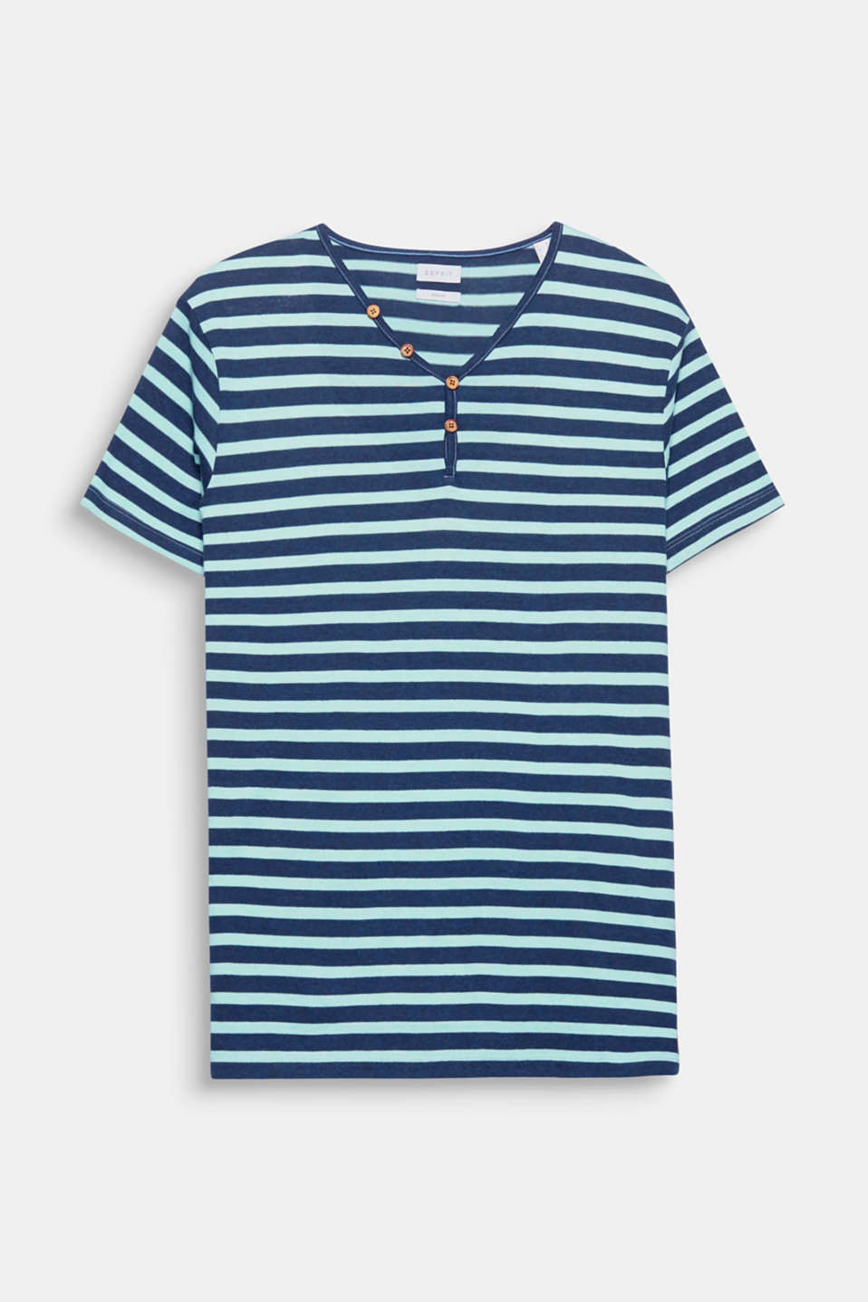 A timeless, sporty basic piece: T-shirt with a Henley neckline, made of blended cotton.
