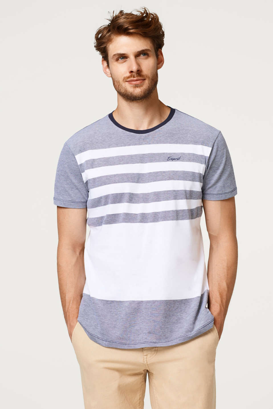 Esprit - Mixed texture cotton-jersey T-shirt