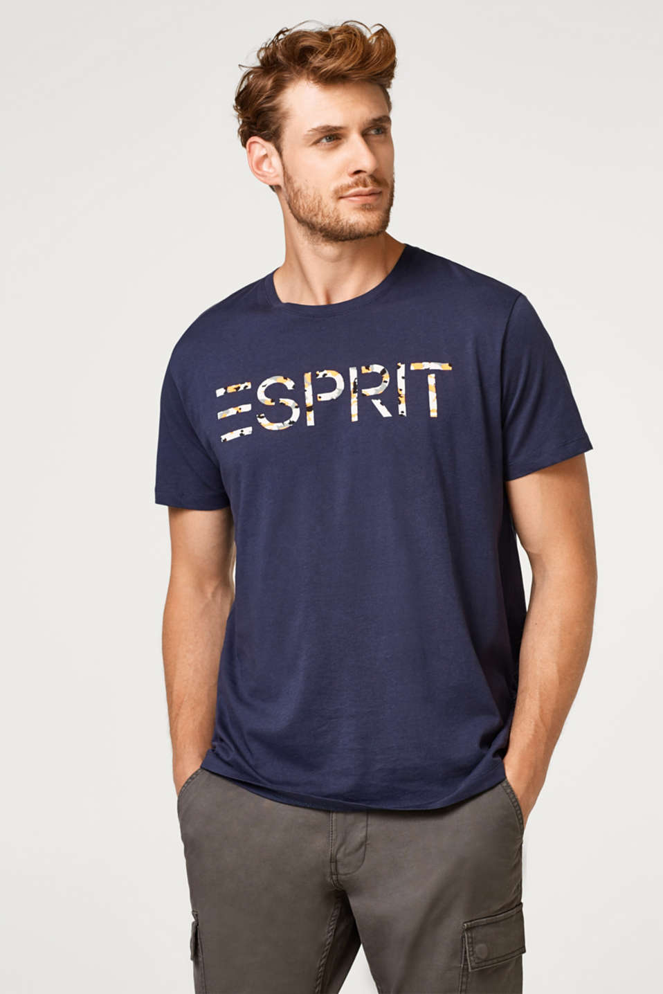 Esprit - Jersey T-shirt with a logo print, organic cotton
