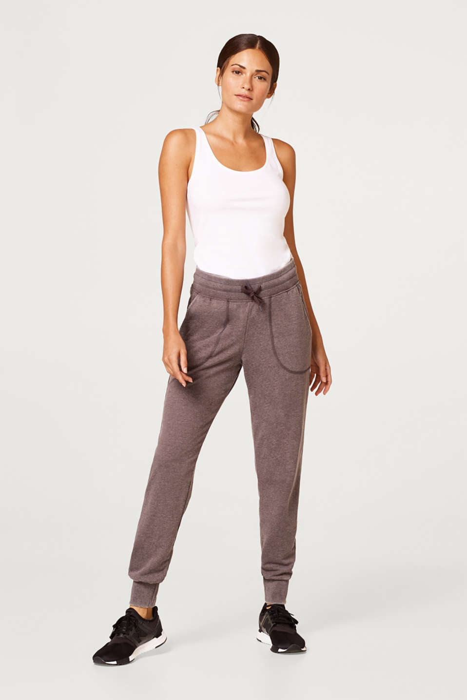 Esprit - Jersey trousers in an airy burnt-out look