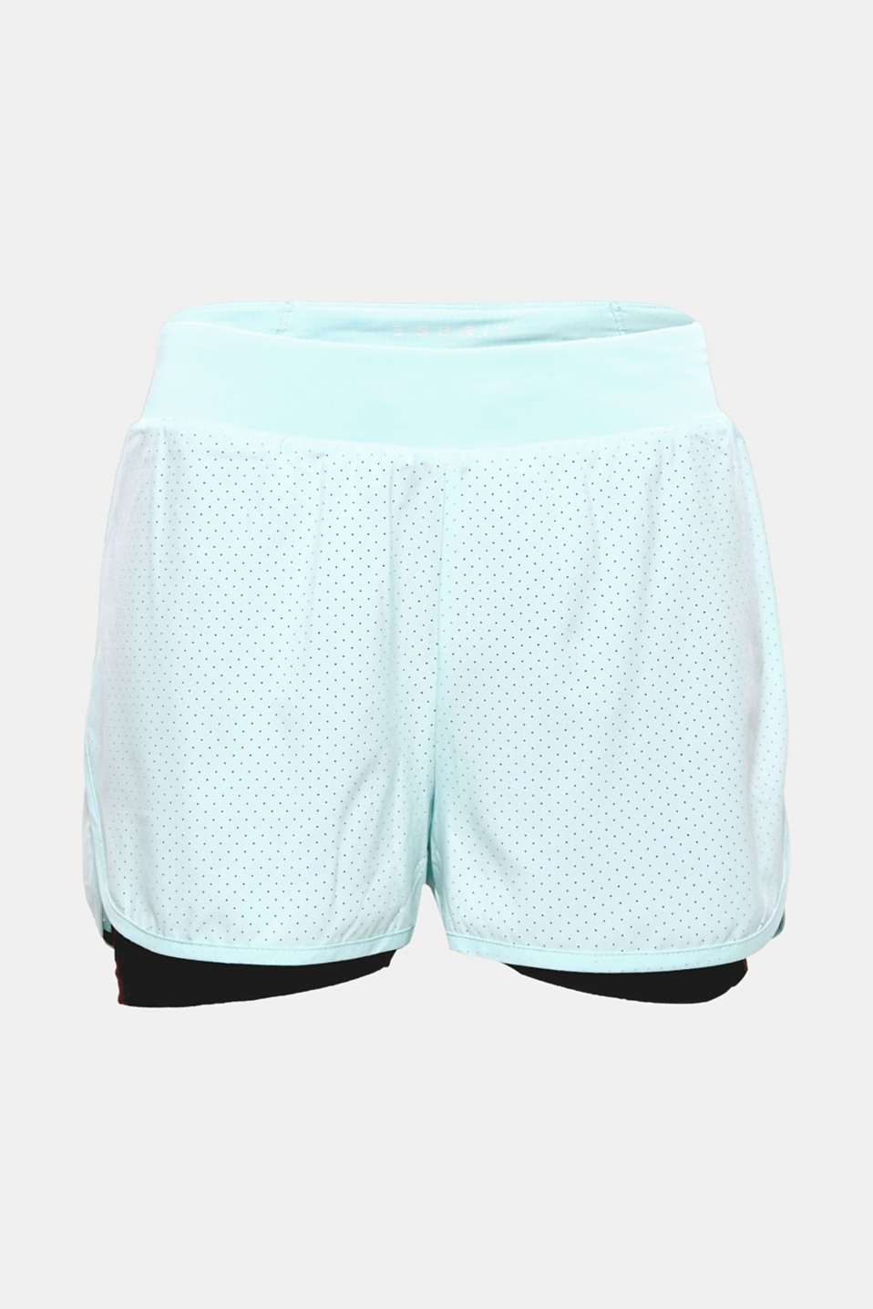 Sensationally stylish for all sporting activities: active, layered-effect shorts with an airy, laser-cut pattern and E-DRY finish!