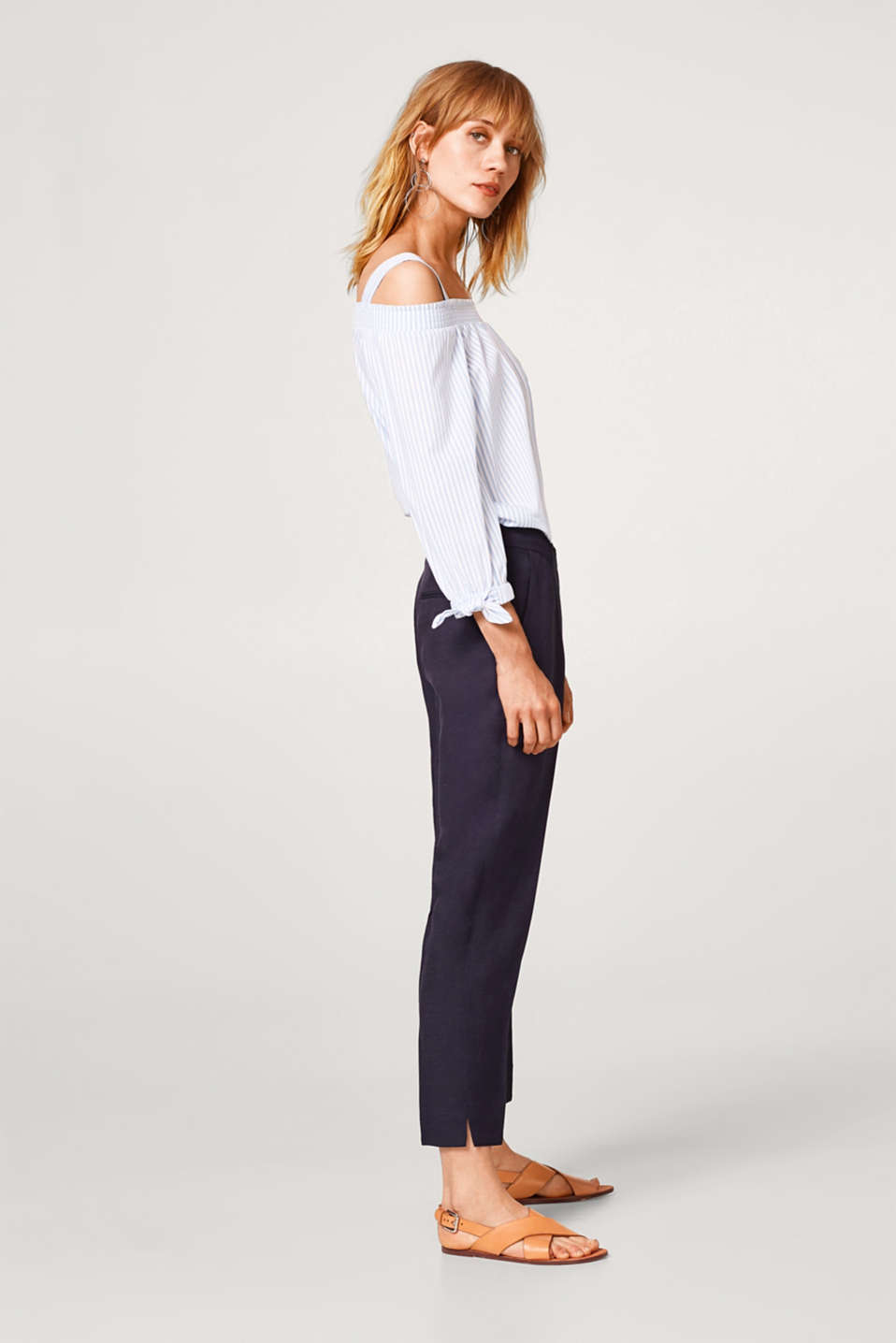 FEMININE STYLE mix + match trousers with a frilled trim