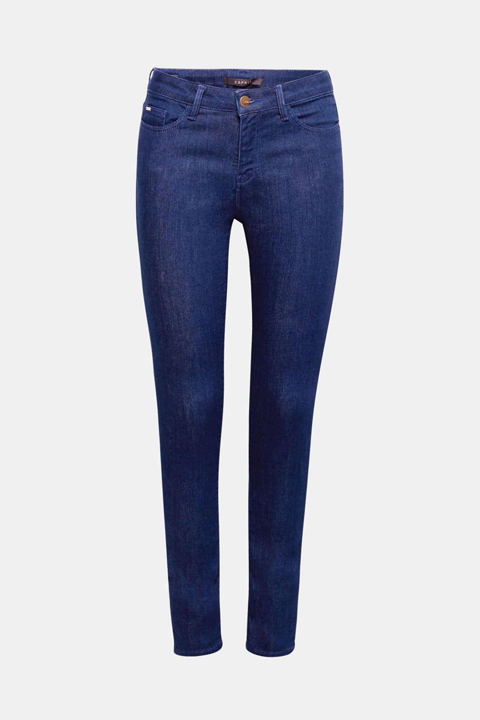 The clear blue shade accentuates the slim silhouette of these comfortable stretch jeans in a sleek five-pocket style!