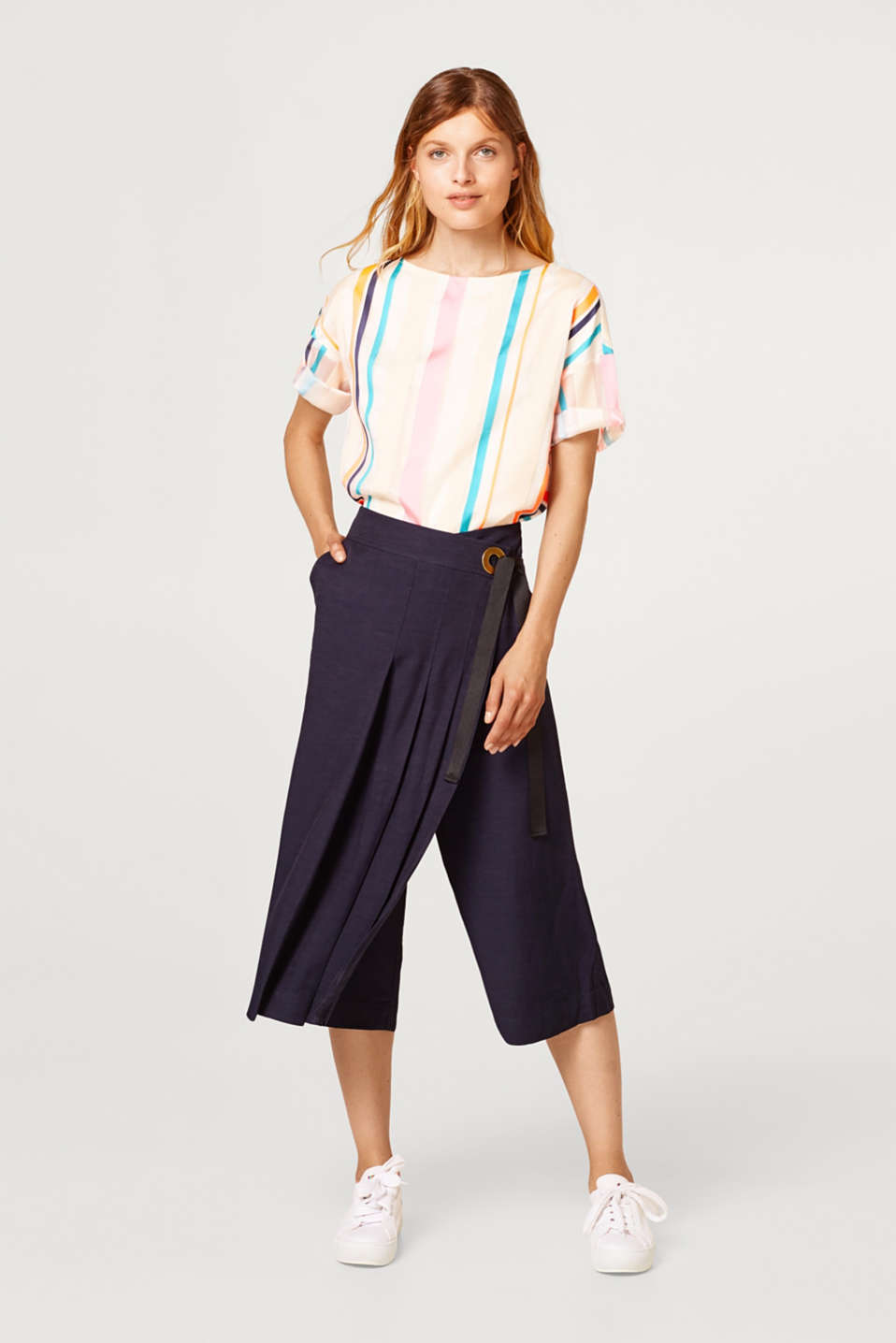 Esprit - Linen blend: Culottes with pleated section