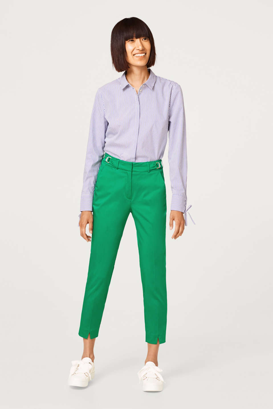 Esprit - Satined stretch trousers with buckle details