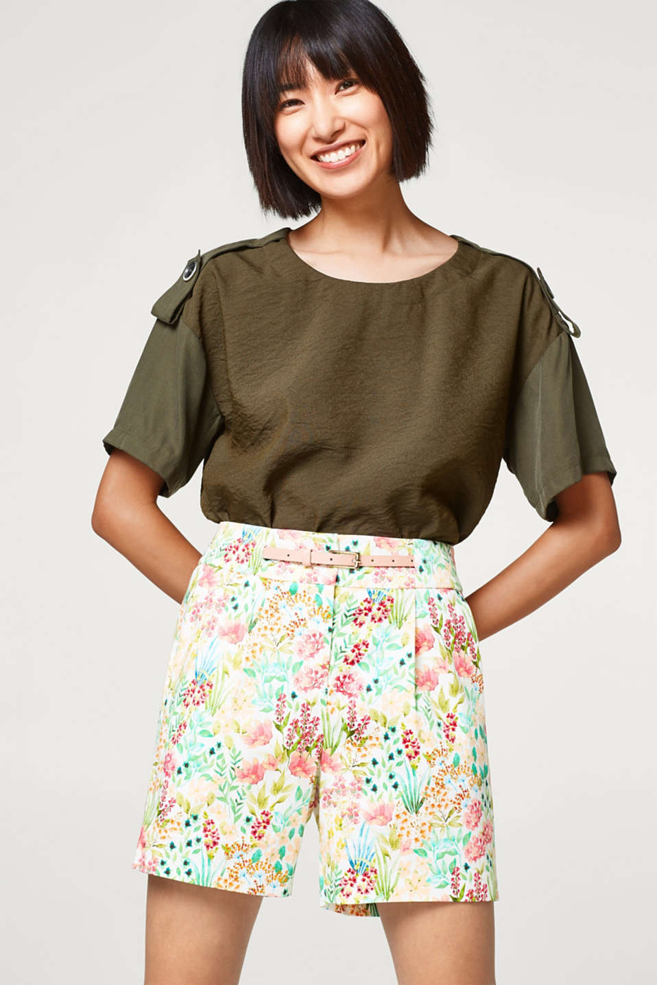 Esprit - Stretch-Shorts mit Blumen-Print