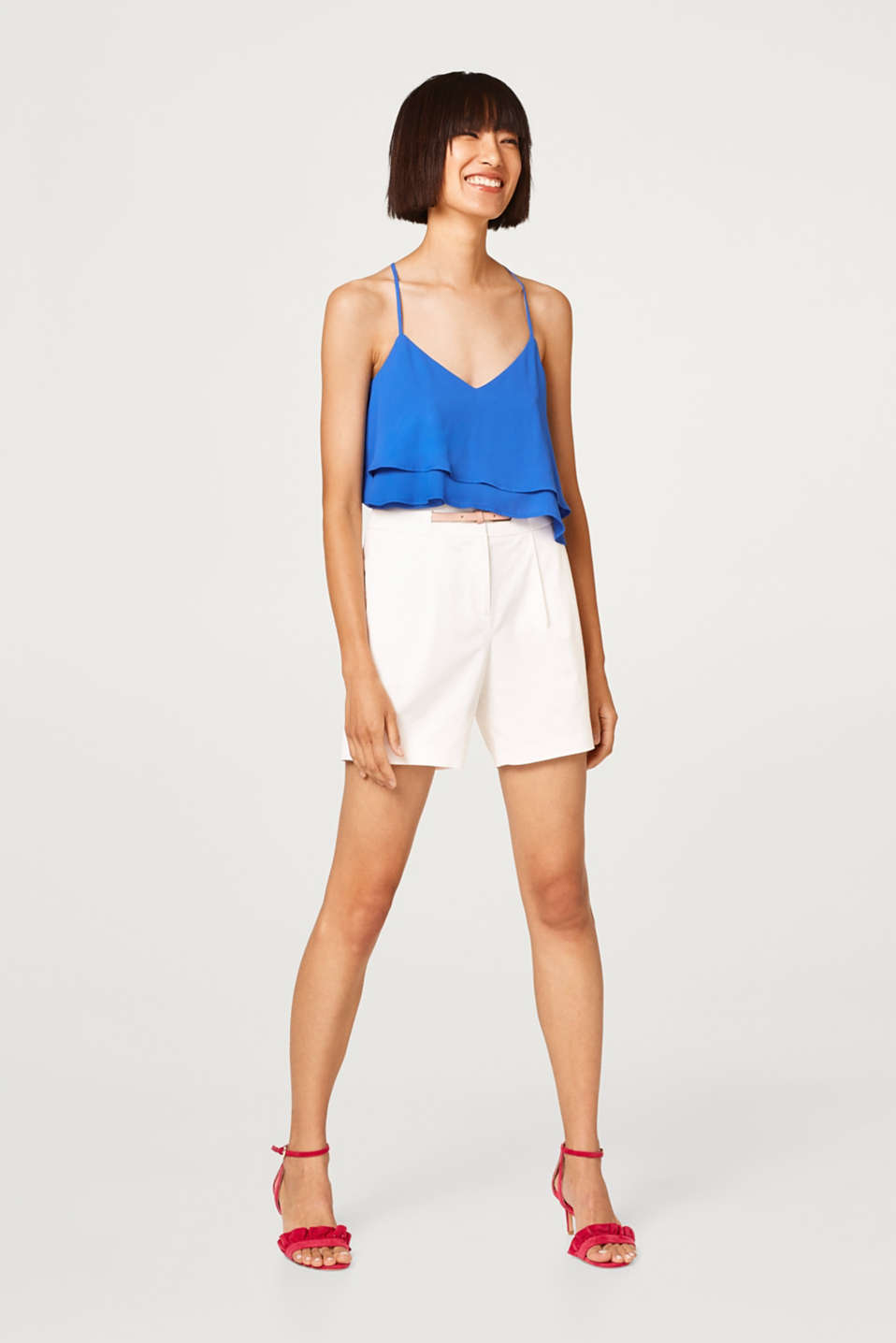 Thick stretch cotton shorts with a belt