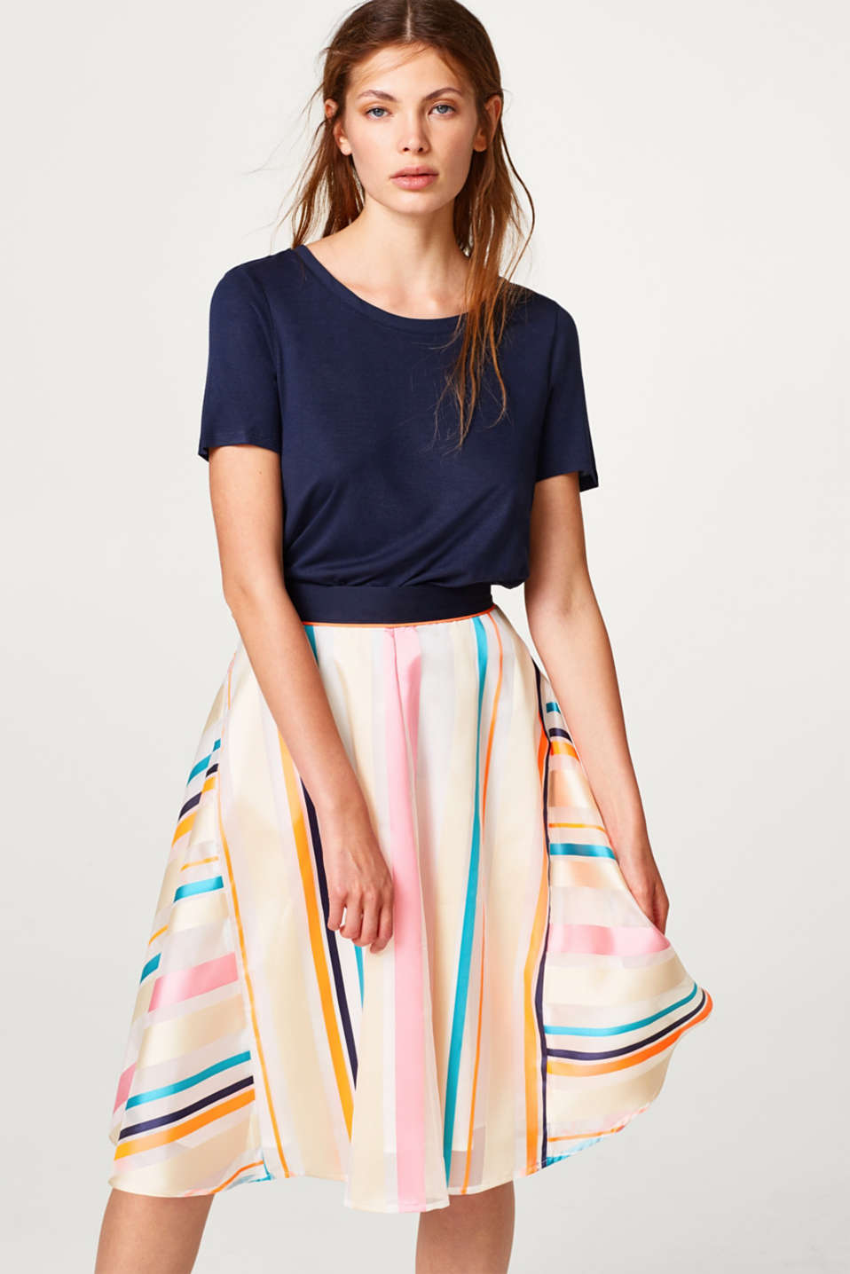 Esprit - Sheer skirt with neon stripes