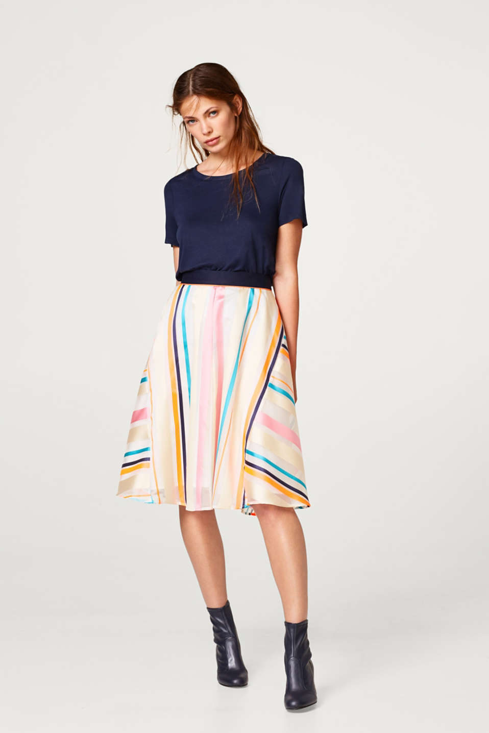 Sheer skirt with neon stripes