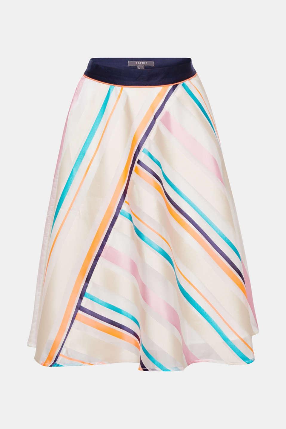 Pure fashion: this flared, swirling skirt in sheer, firmer fabric impresses even further with its neon diagonal stripes!