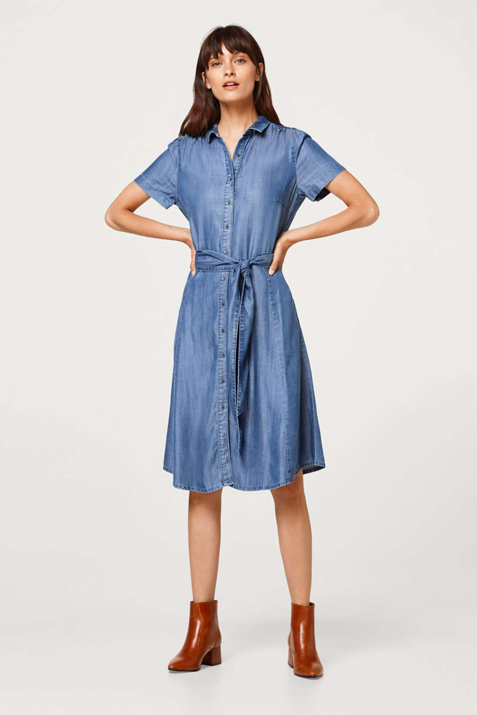 Esprit - Robe chemisier en lyocell d'aspect denim