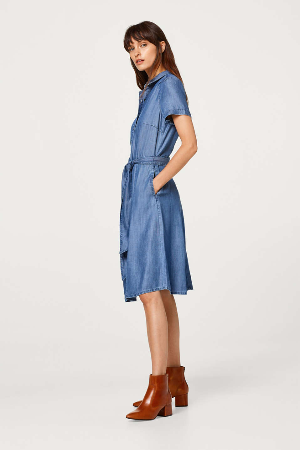 Robe chemisier en lyocell d'aspect denim