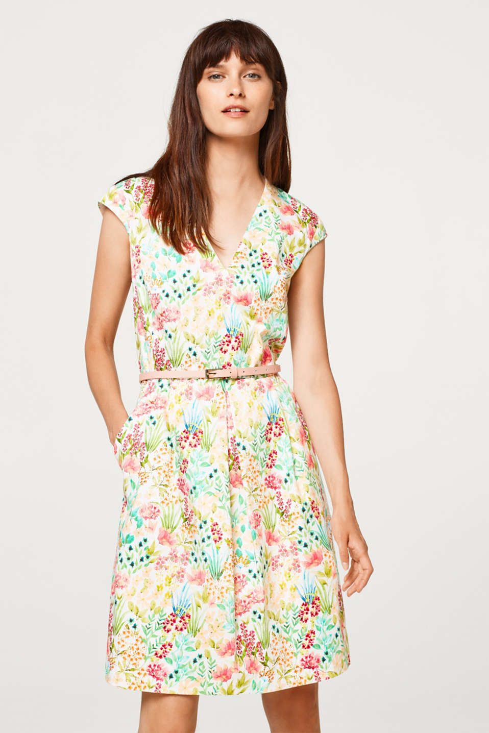 Esprit - Printed satin dress, stretch cotton