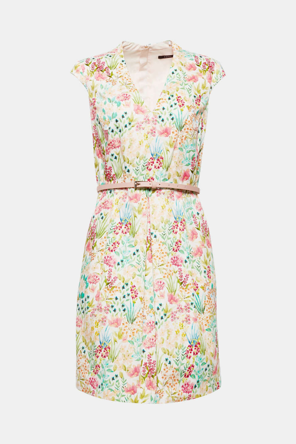 Colourful flowers on smooth satin make this feminine dress with a belt and pleated skirt a favourite piece for a day in the city or special occasions!