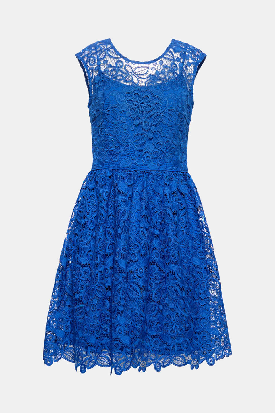 Take some decorative lace, two sexy necklines and a swirling skirt - and go wild for a sensational party dress with high-fashion, feminine flair!