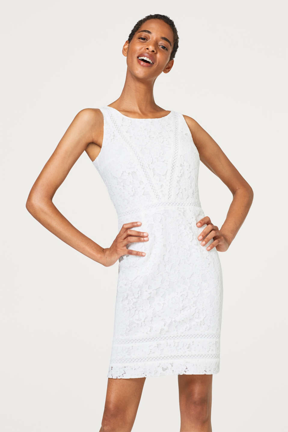 Esprit - BRIDAL lace shift dress with decorative trims