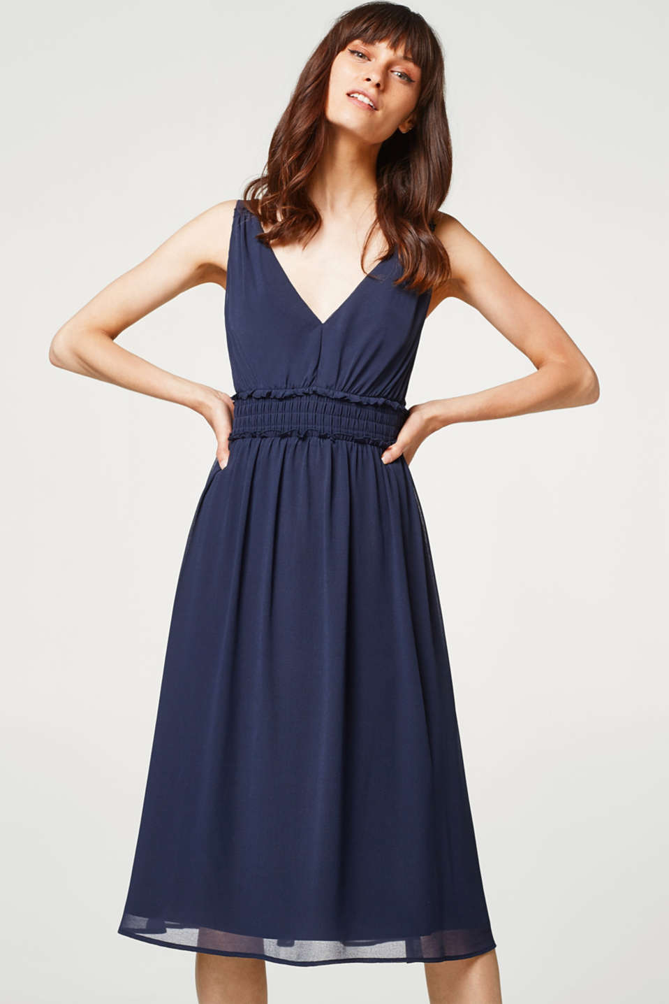 Esprit - Chiffon dress with V-neck