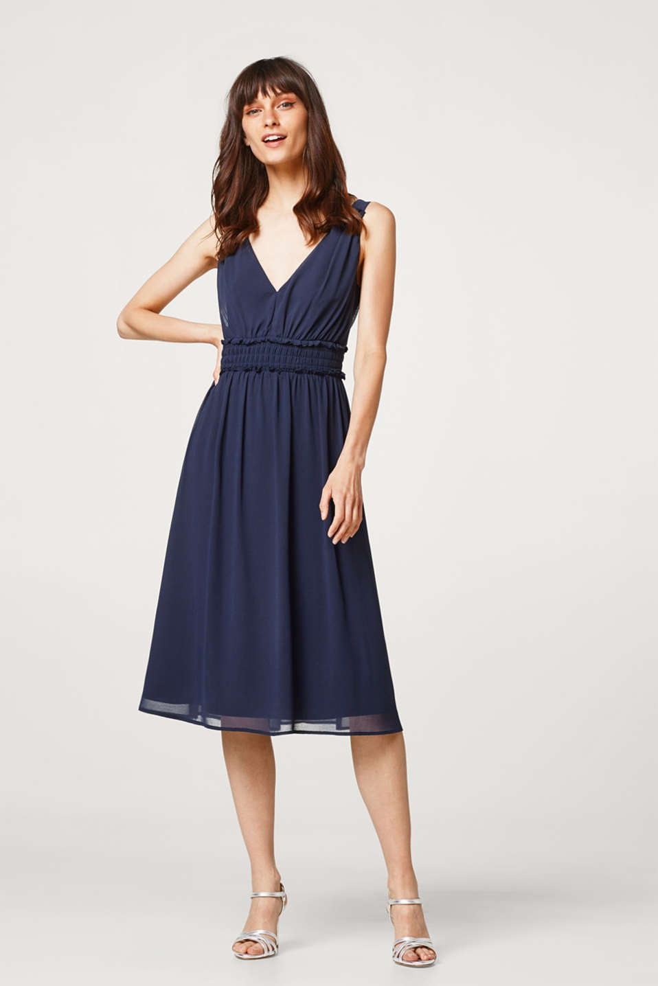 Chiffon dress with V-neck