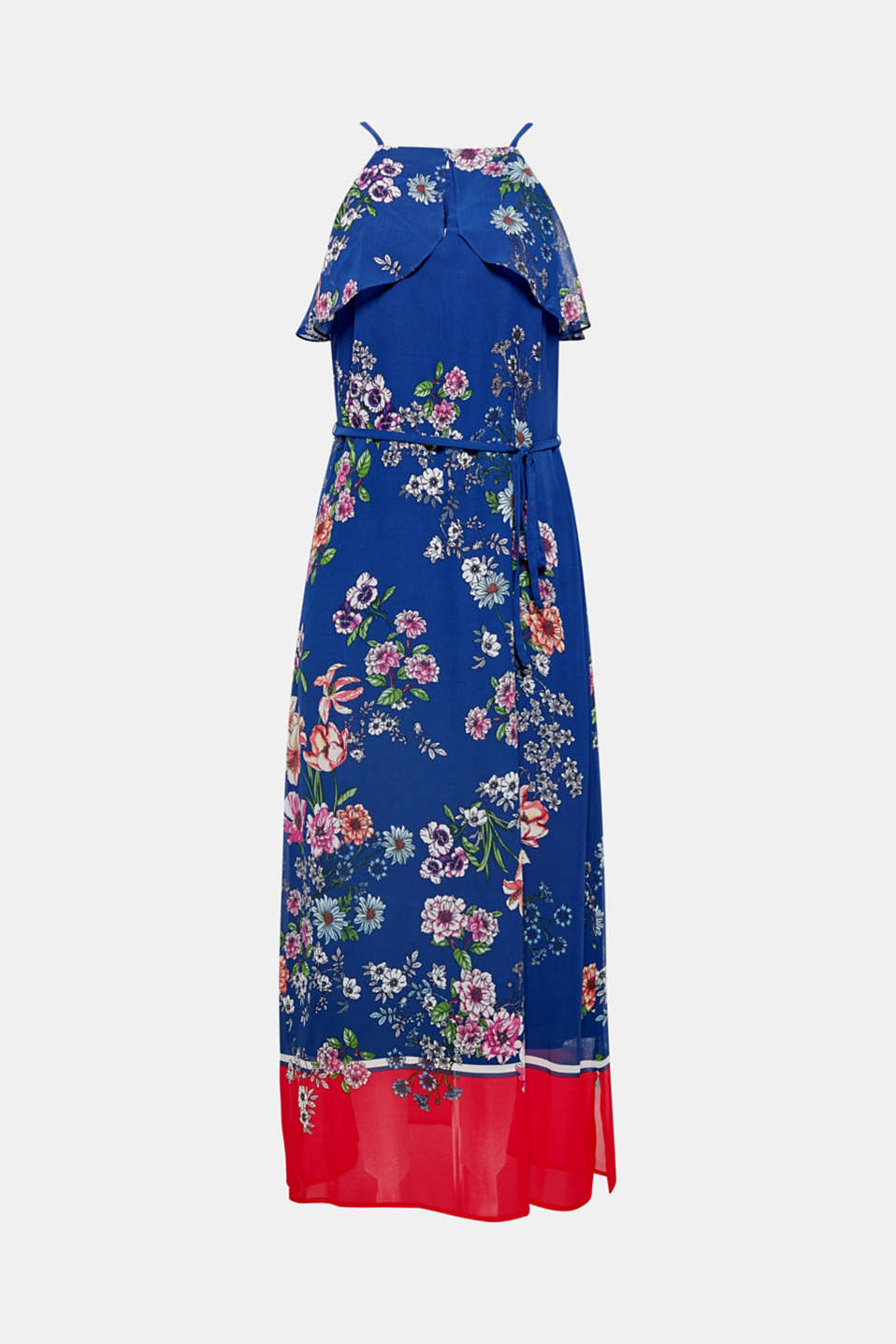 We love maxi dresses! The cut-out plus frill trim at the neckline and contrast between a floral print and colour blocking make this particular example in delicate chiffon completely captivating.