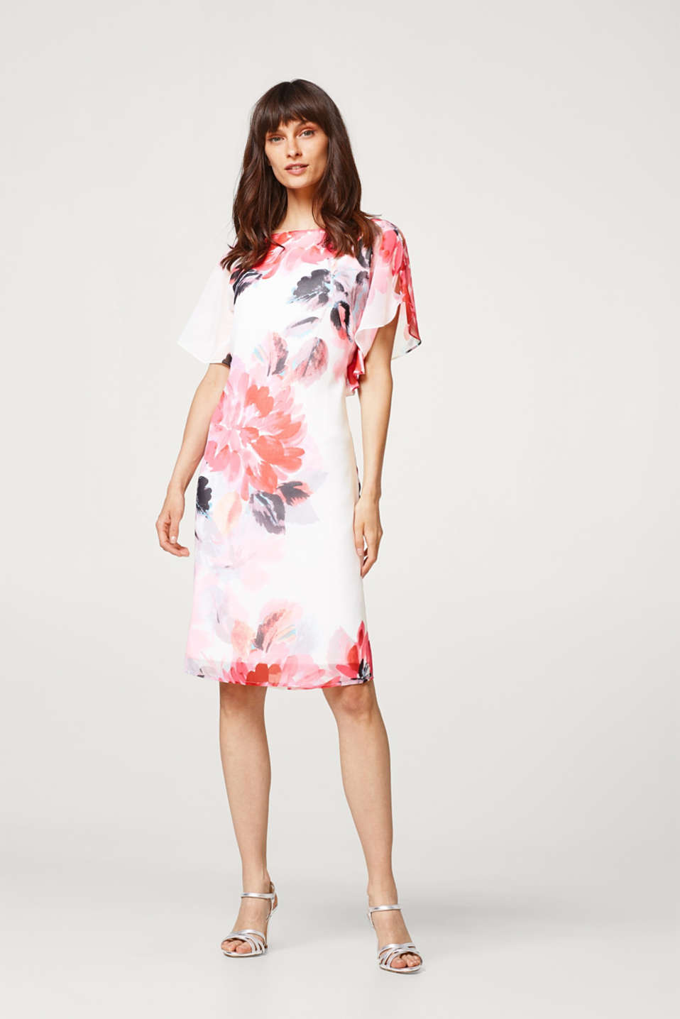 Esprit - Printed chiffon dress with frilled sleeves