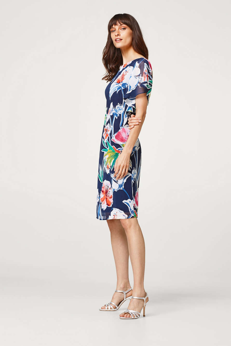 Printed chiffon dress with frilled sleeves