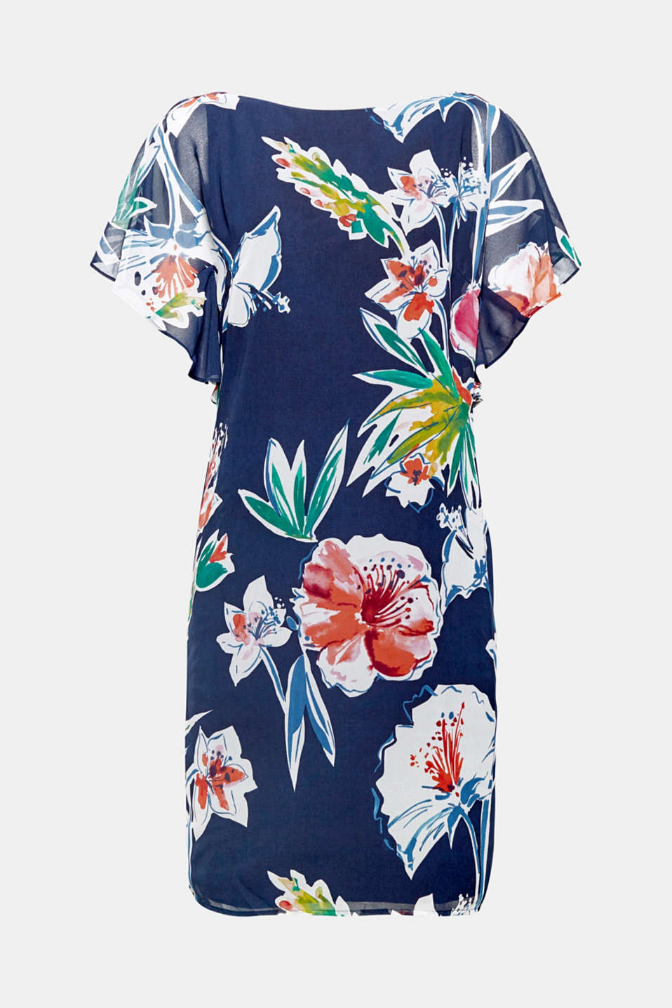 The timeless, straight cut, the colourful floral print and fashionable flounce sleeves make this dress a feminine summer highlight.