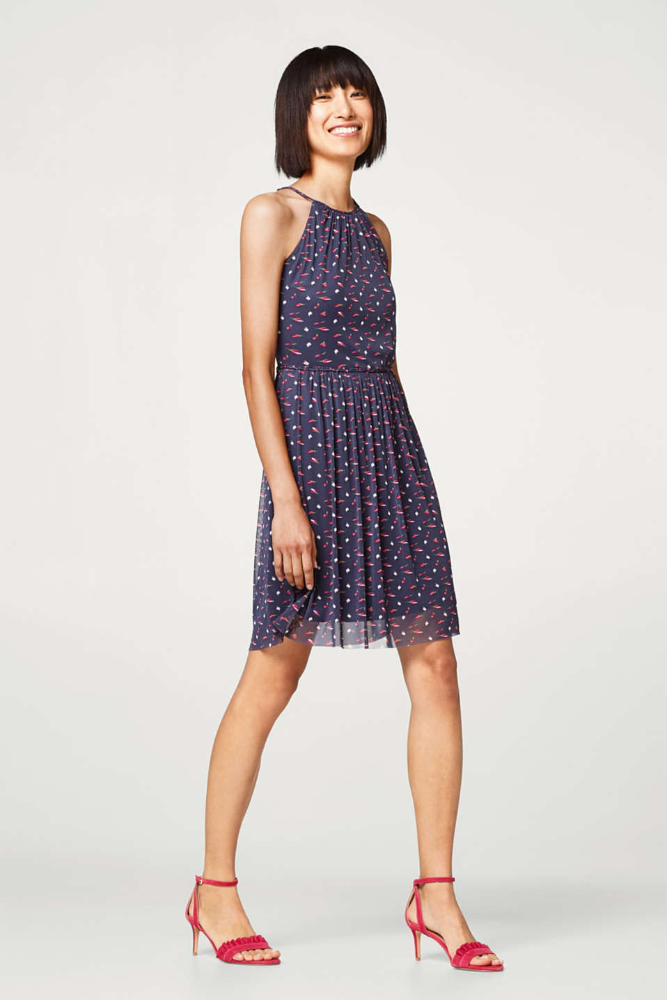 Esprit - Printed summer dress with cut-away shoulders