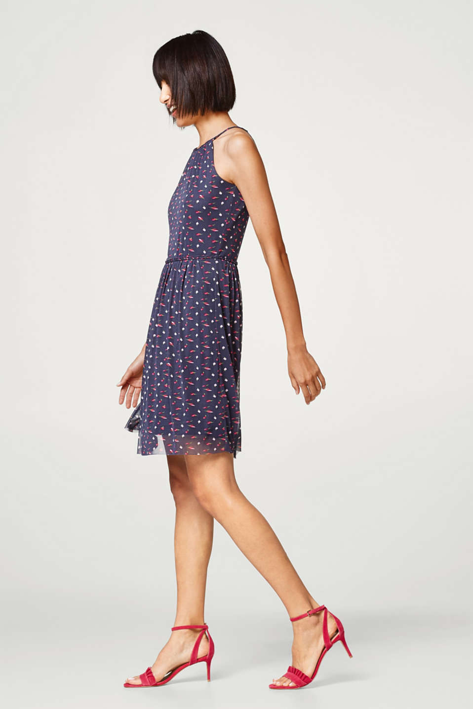 Printed summer dress with cut-away shoulders