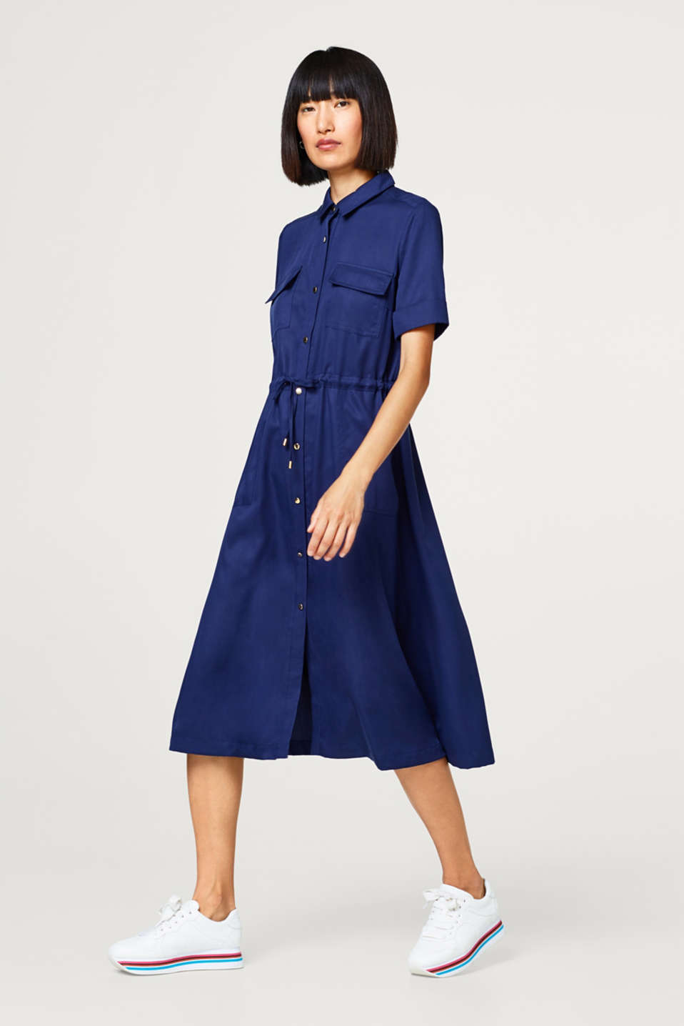 Esprit - Midi shirt dress in lyocell