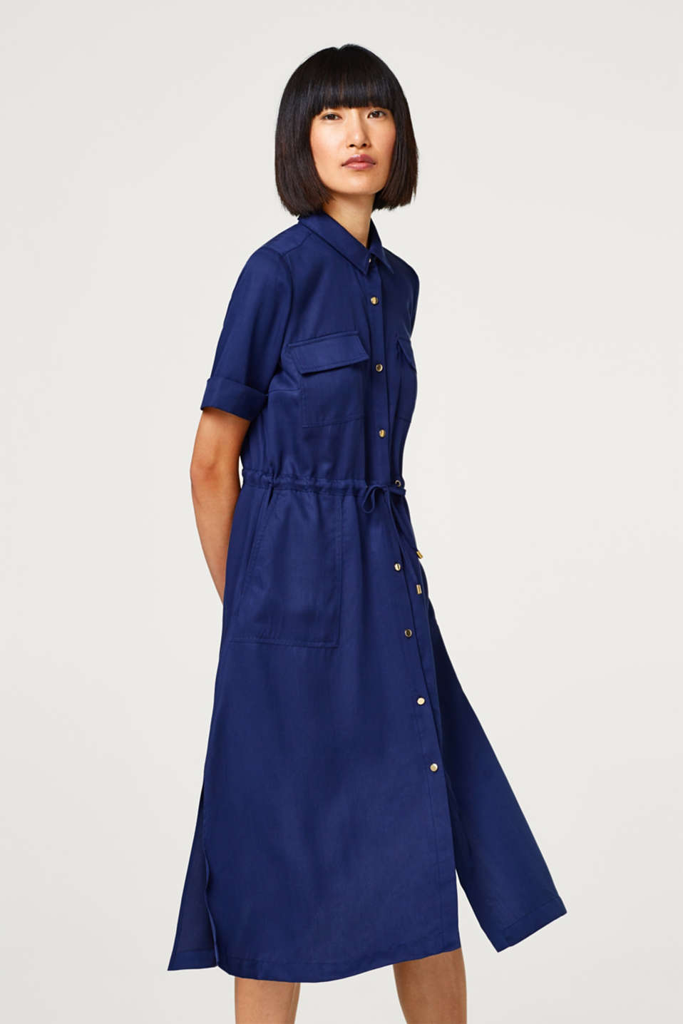 Midi shirt dress in lyocell