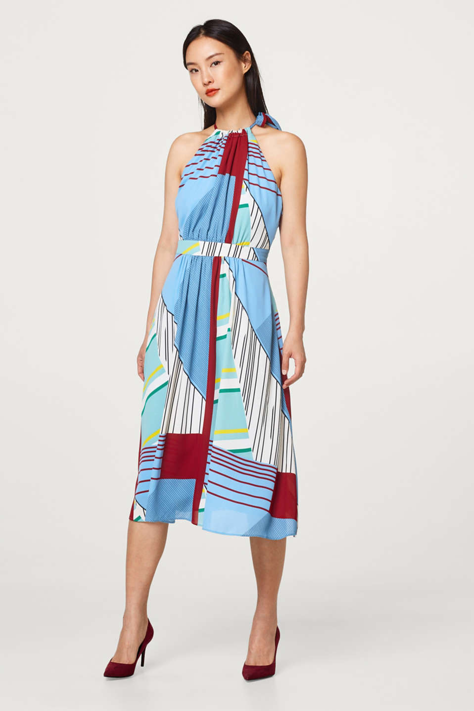 Esprit - Mixed stripe dress with cut-away shoulders