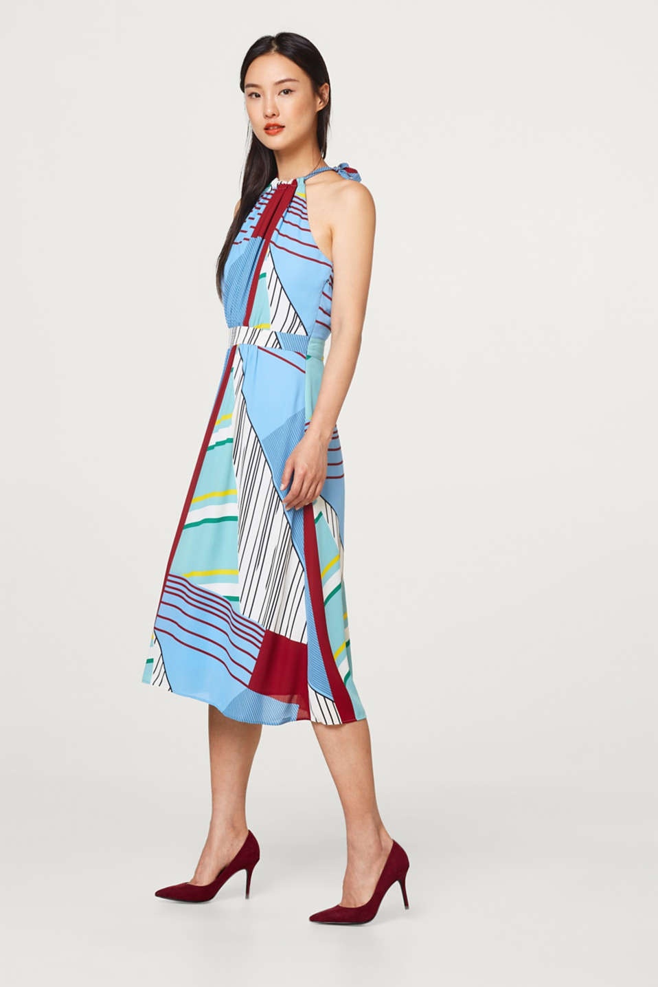 Mixed stripe dress with cut-away shoulders