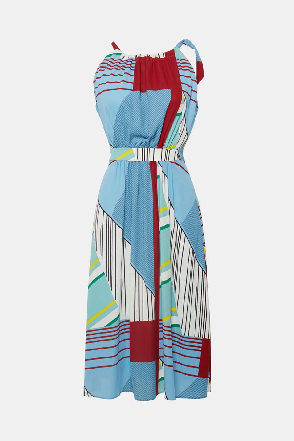 You are sure to turn heads in this one: dress with a colourful, mixed stripe pattern, wide swirling skirt and cut-away shoulders!