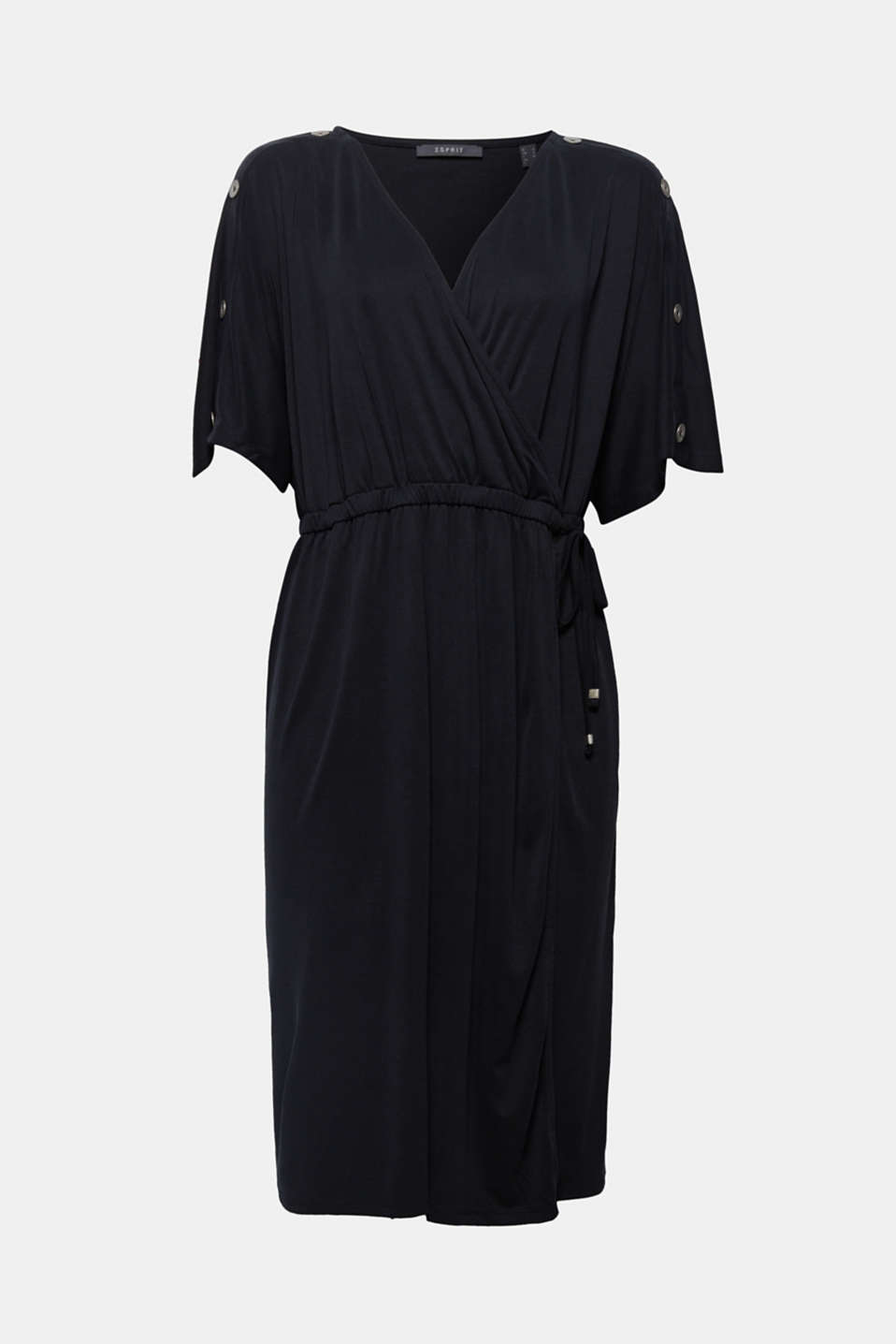 This wrap dress made of softly draped jersey features a stylish 80s look. The highlight: the batwing sleeves adorned with buttons at the top