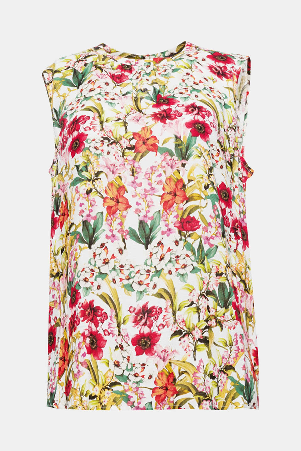 Flowing, feminine, flower power! This sleeveless blouse top features a romantic pattern with flowers and blossoms and a subtly pleated round neckline.