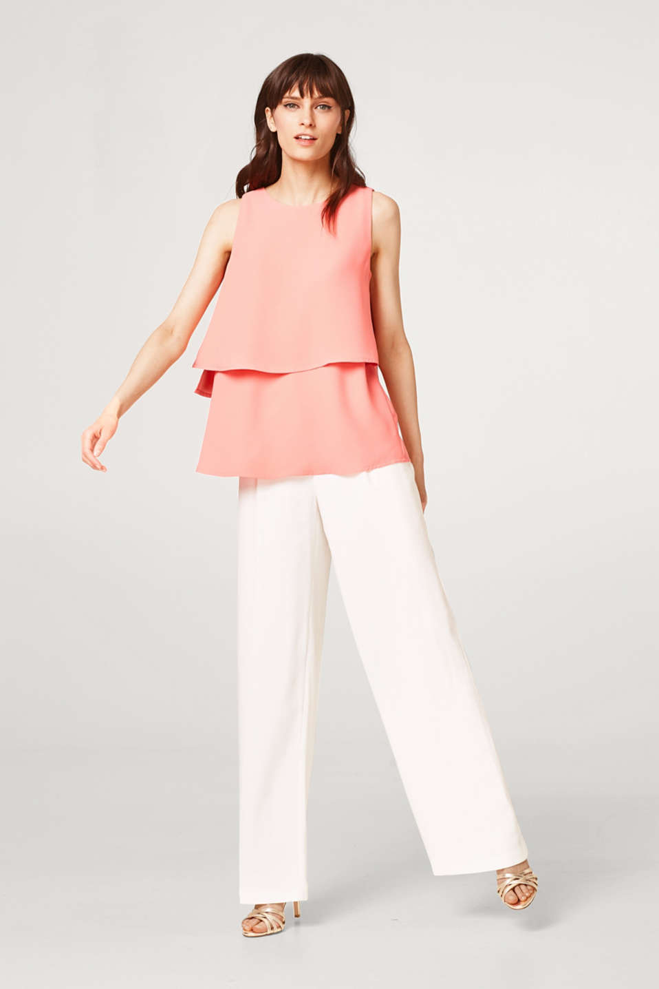 Blouse top in crêpe with a layered effect