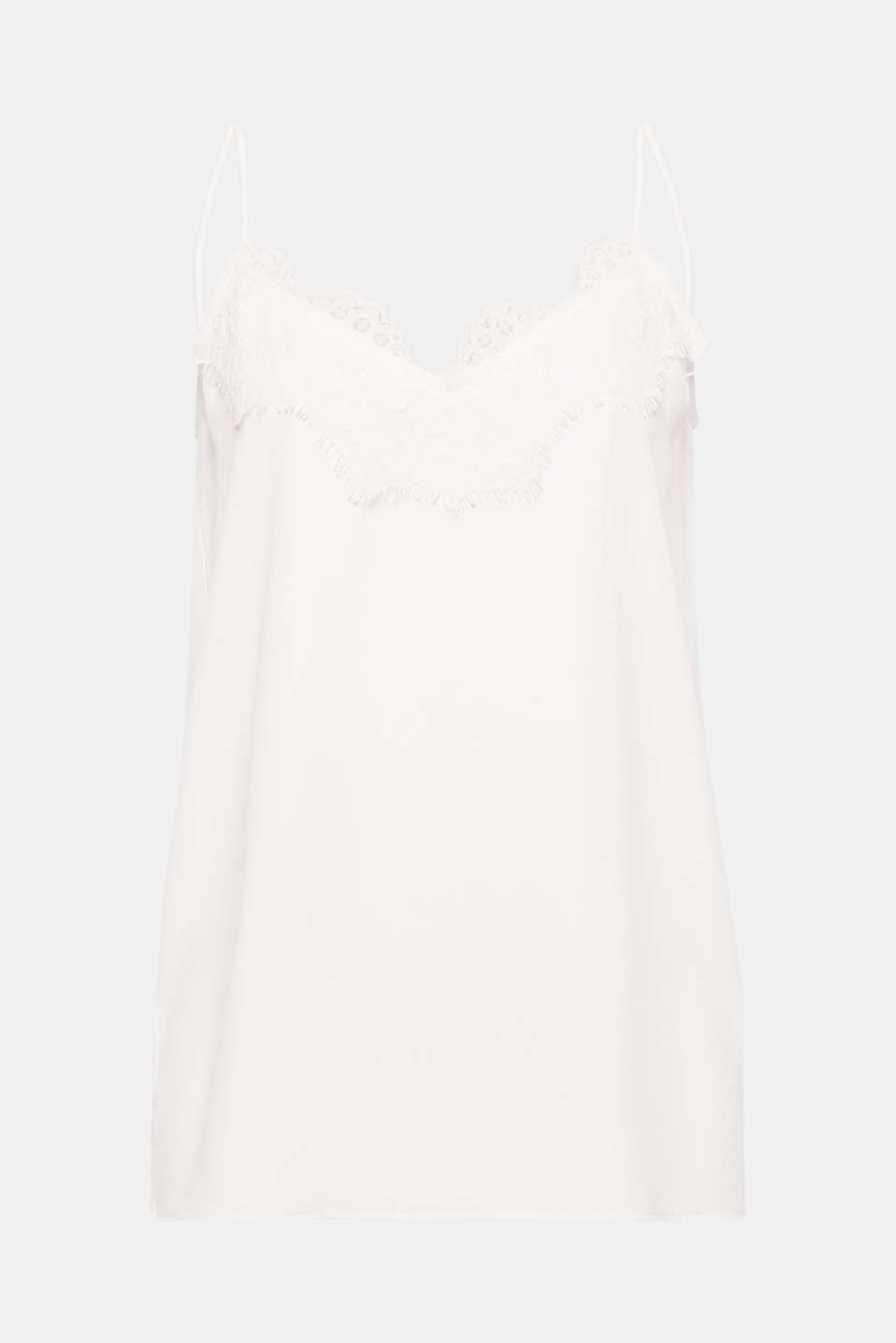 Airy spaghetti straps, elegant crêpe and a decorative lace trim make this top a feminine companion for warm days!
