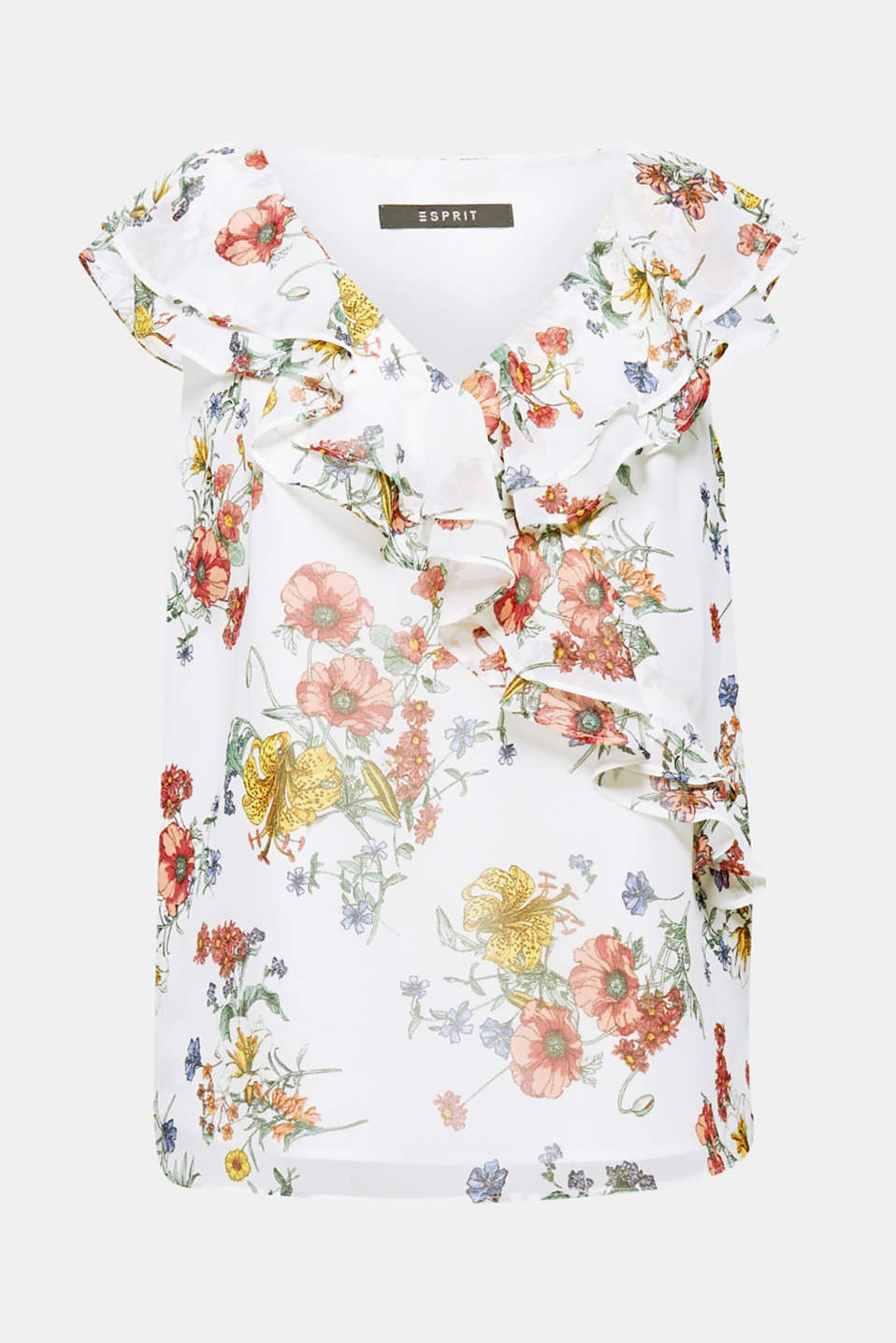 The combination of the floral print and the pretty flounces create a romantic, feminine look on this flowing blouse top!