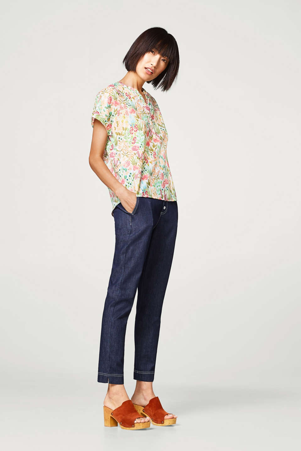 Henley blouse with floral print, 100% cotton