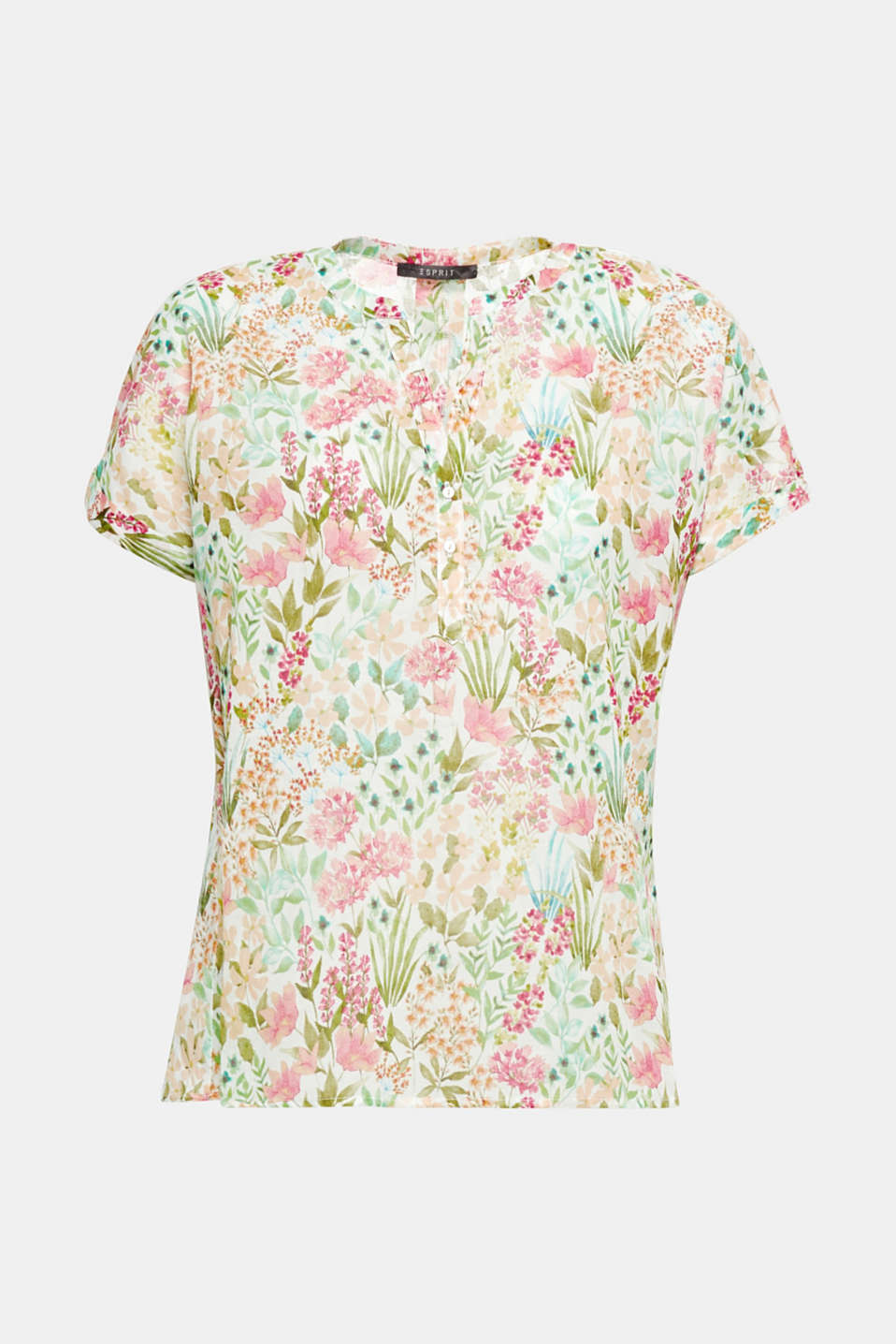 Makes you long for summer, sun and more: ultra lightweight cotton blouse with a colourful floral print, Henley neckline and fixed sleeve turn-ups.
