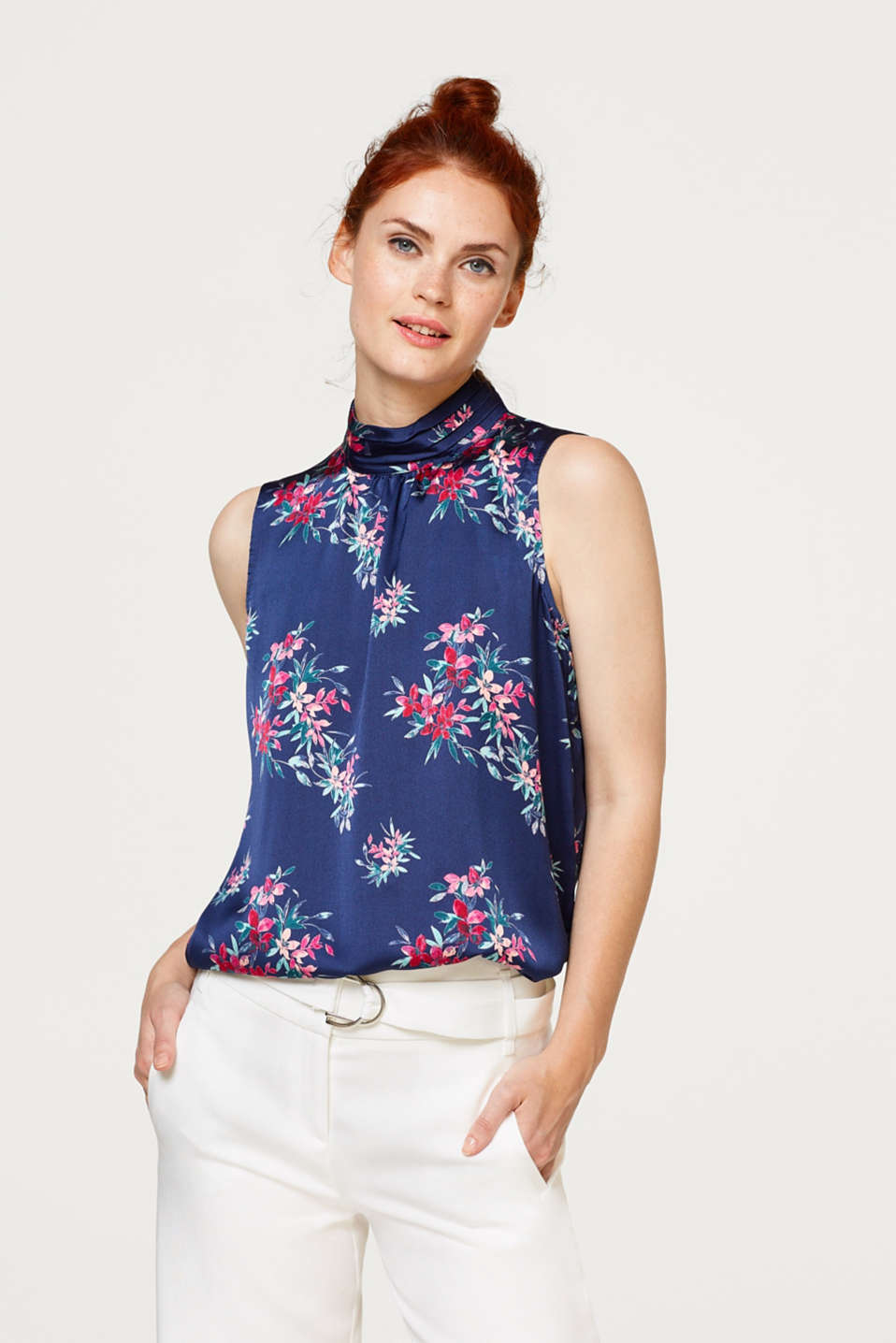 Esprit - Printed blouse with a stand-up collar